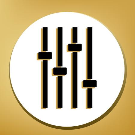Señal de línea de música de ajuste. Vector. Icono negro con sombra marrón claro en círculo blanco con anillo en forma de fondo dorado.