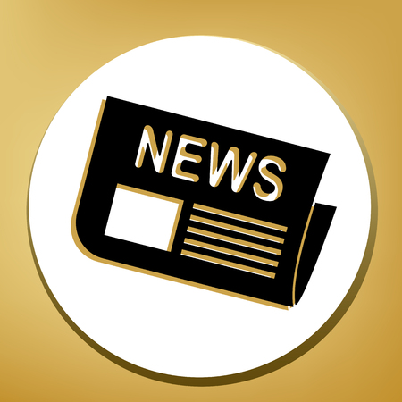 Newspaper sign. Vector. Black icon with light brown shadow in white circle with shaped ring at golden background.