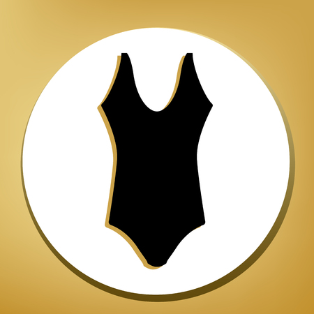 Womans swimsuit sign. Vector. Black icon with light brown shadow in white circle with shaped ring at golden background. Illustration.