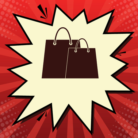 Shopping bags sign. Vector. Dark red icon in lemon chiffon shutter bubble at red popart background with rays.