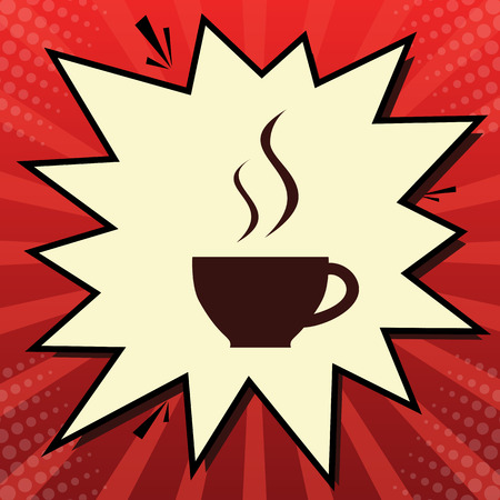 Cup sign with two small streams of smoke. Vector. Dark red icon in lemon chiffon shutter bubble at red popart background with rays. Иллюстрация