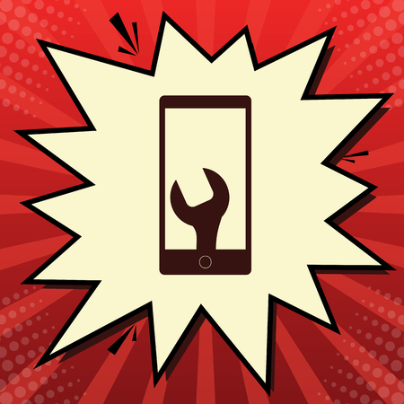 Phone icon with settings. Vector. Dark red icon in lemon chiffon shutter bubble at red popart background with rays.