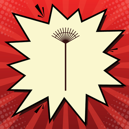 Lawn rake sign. Vector. Dark red icon in lemon chiffon shutter bubble at red popart background with rays. Illustration. Illustration