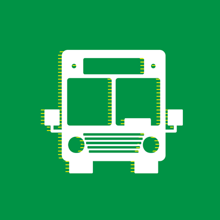 Bus sign illustration. Vector. White flat icon with yellow striped shadow at green background.