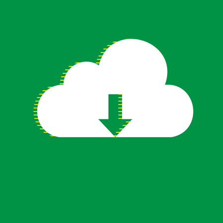 Cloud technology sign. Vector. White flat icon with yellow striped shadow at green background.