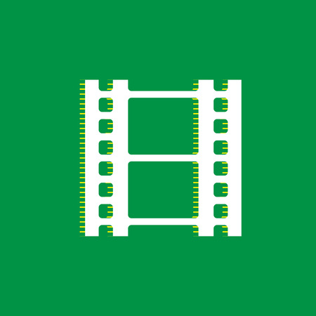 Reel of film sign. Vector. White flat icon with yellow striped shadow at green background.