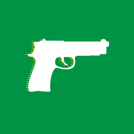 Gun sign illustration. Vector. White flat icon with yellow striped shadow at green background.