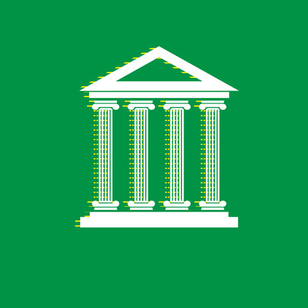 Historical building illustration. Vector. White flat icon with yellow striped shadow at green background. Illustration