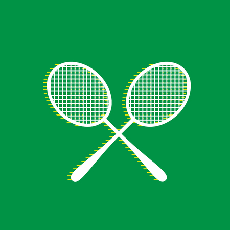 Two tennis racket sign. Vector. White flat icon with yellow striped shadow at green background.