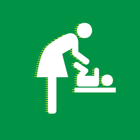 Women and baby symbol, baby changing. Vector. White flat icon with yellow striped shadow at green background.