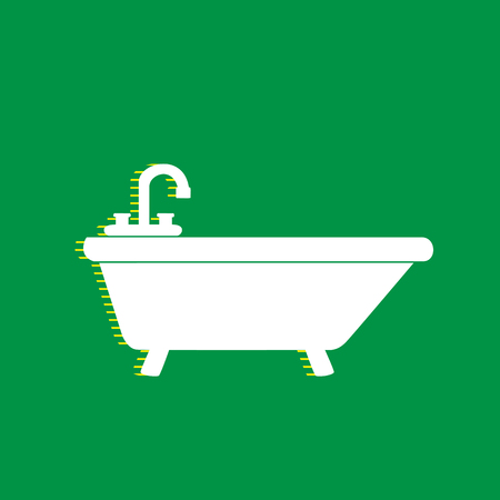 Bathtub sign illustration. Vector. White flat icon with yellow striped shadow at green background.
