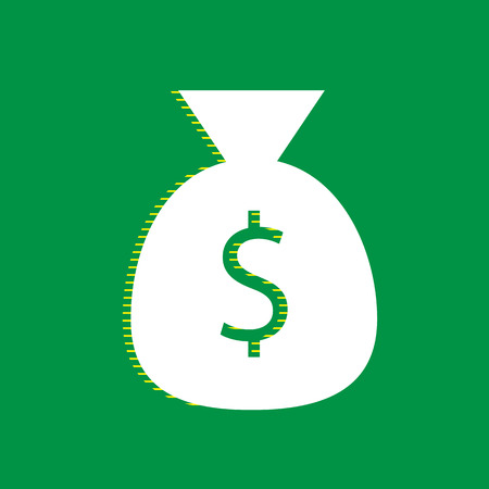 Money bag sign illustration. Vector. White flat icon with yellow striped shadow at green background.