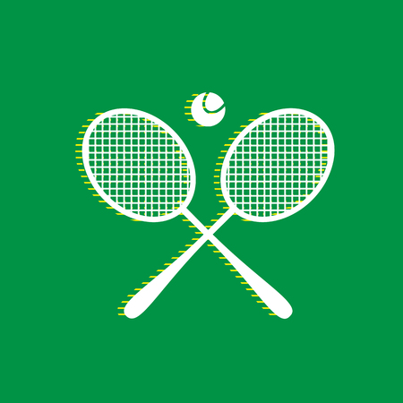 Two tennis racket with ball sign. Vector. White flat icon with yellow striped shadow at green background.