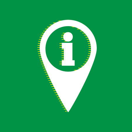 Map pointer with information sign. Vector. White flat icon with yellow striped shadow at green background.