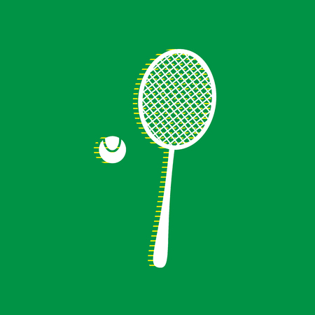 Tennis racquet with ball sign. Vector. White flat icon with yellow striped shadow at green background.