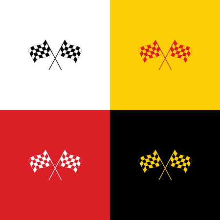 Crossed checkered flags logo waving in the wind conceptual of motor sport. Vector. Icons of german flag on corresponding colors as background.