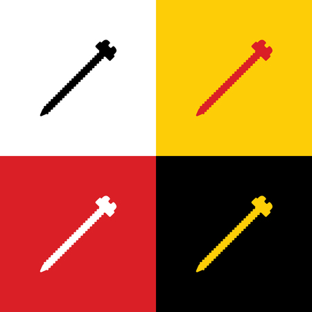 Screw sign illustration. Vector. Icons of german flag on corresponding colors as background.