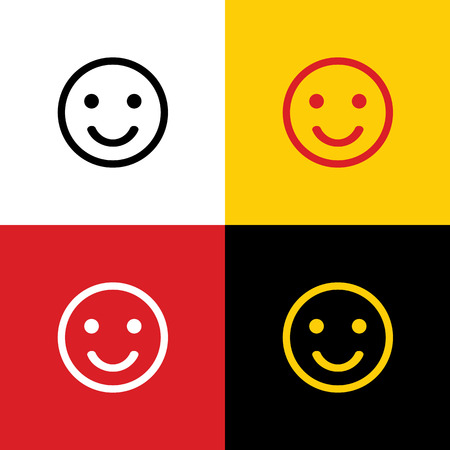 Smile icon. Vector. Icons of german flag on corresponding colors as background. 向量圖像