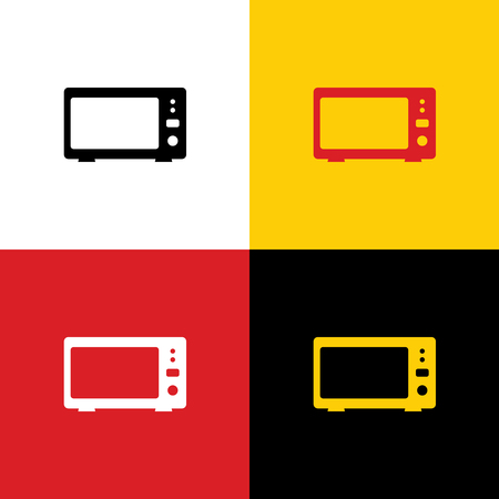 Microwave sign illustration. Vector. Icons of german flag on corresponding colors as background.