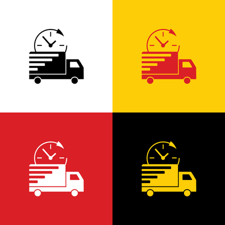 Delivery sign illustration. Vector. Icons of german flag on corresponding colors as background.