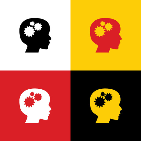Thinking head sign. Vector. Icons of german flag on corresponding colors as background.