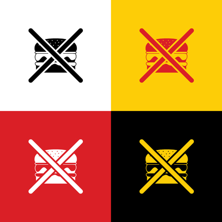 No burger sign. Vector. Icons of german flag on corresponding colors as background.