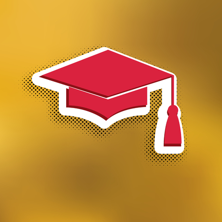 Mortar Board or Graduation Cap, Education symbol. Vector. Magenta icon with darker shadow, white sticker and black popart shadow on golden background.