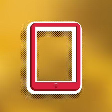 Computer tablet sign. Vector. Magenta icon with darker shadow, white sticker and black popart shadow on golden background.