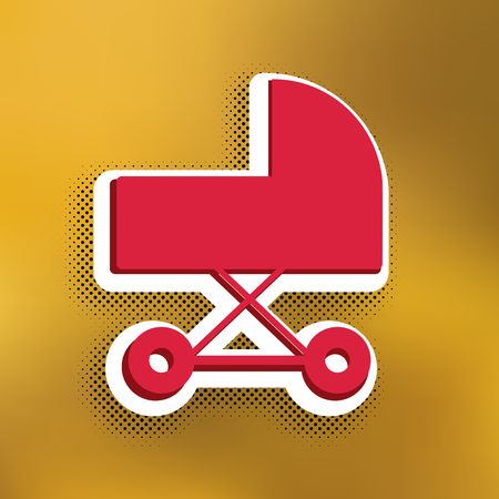 Pram sign illustration. Vector. Magenta icon with darker shadow, white sticker and black popart shadow on golden background.