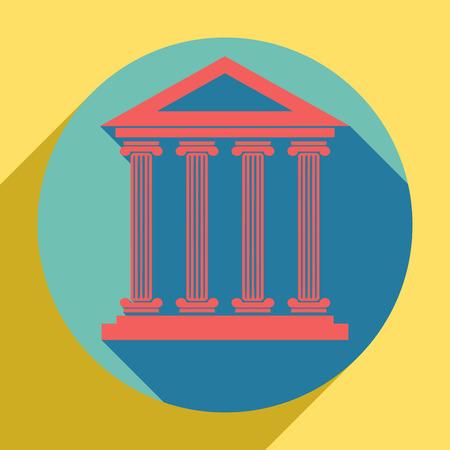 Ilustración de edificio histórico. Icono naranja al atardecer con sombra dentro de un círculo aguamarina medio con diferente sombra de vara de oro en fondo amarillo real.