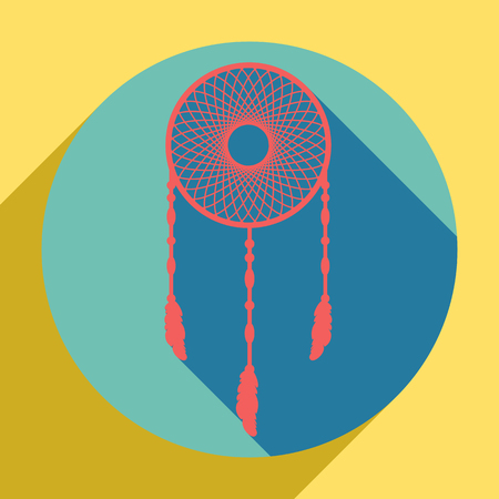 Dream catcher sign. Sunset orange icon with llapis lazuli shadow inside medium aquamarine circle with different goldenrod shadow at royal yellow background.