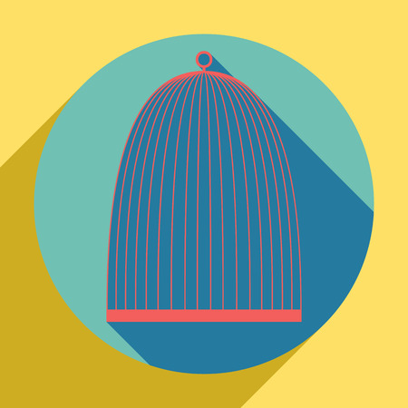 Bird cage sign. Sunset orange icon with llapis lazuli shadow inside medium aquamarine circle with different goldenrod shadow at royal yellow background.