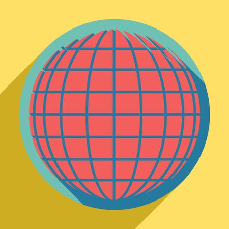 Earth Globe teken. Zonsondergang oranje pictogram met llapis lazuli schaduw binnen middelgrote aquamarijn cirkel met verschillende guldenroede schaduw op royal gele achtergrond. Vector Illustratie
