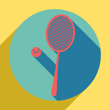 Tennis racquet with ball sign. Sunset orange icon with llapis lazuli shadow inside medium aquamarine circle with different goldenrod shadow at royal yellow background.