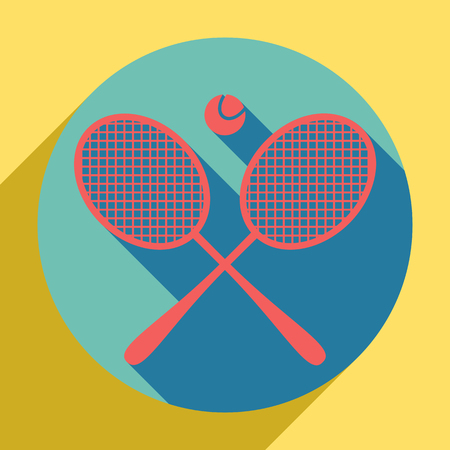 Two tennis racket with ball sign. Sunset orange icon with llapis lazuli shadow inside medium aquamarine circle with different goldenrod shadow at royal yellow background. Banco de Imagens - 122921321