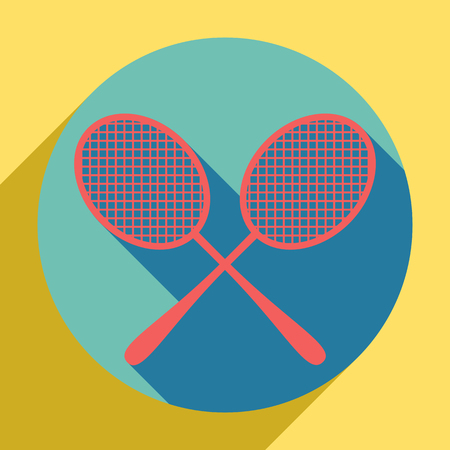 Two tennis racket sign. Sunset orange icon with llapis lazuli shadow inside medium aquamarine circle with different goldenrod shadow at royal yellow background. Ilustração