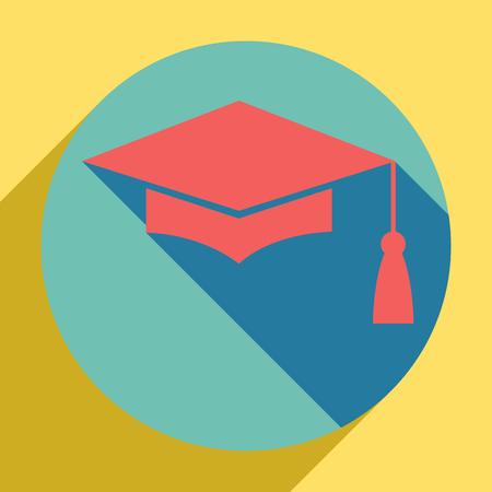 Mortar Board or Graduation Cap, Education symbol. Sunset orange icon with llapis lazuli shadow inside medium aquamarine circle with different goldenrod shadow at royal yellow background. 免版税图像 - 122921339