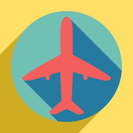 Airplane sign illustration. Sunset orange icon with llapis lazuli shadow inside medium aquamarine circle with different goldenrod shadow at royal yellow background.