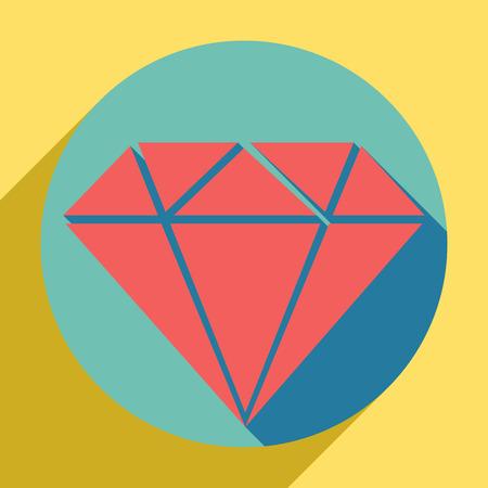 Diamond sign illustration. Sunset orange icon with shadow inside medium aquamarine circle with different goldenrod shadow at royal yellow background.