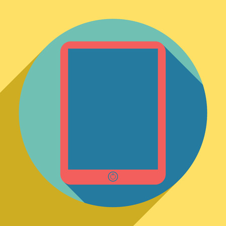 Computer tablet sign. Sunset orange icon with llapis lazuli shadow inside medium aquamarine circle with different goldenrod shadow at royal yellow background.