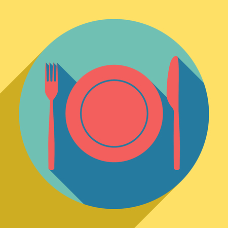 Fork, Knife and Plate sign. Sunset orange icon with llapis lazuli shadow inside medium aquamarine circle with different goldenrod shadow at royal yellow background.