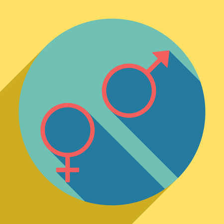 Sex symbol sign. Sunset orange icon with  shadow inside medium aquamarine circle with different goldenrod shadow at royal yellow background.