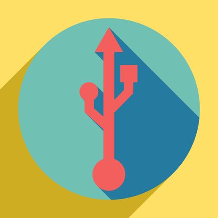 USB sign illustration. Sunset orange icon with llapis lazuli shadow inside medium aquamarine circle with different goldenrod shadow at royal yellow background. Illustration