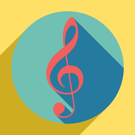 Music violin clef sign. G-clef. Treble clef. Sunset orange icon with llapis lazuli shadow inside medium aquamarine circle with different goldenrod shadow at royal yellow background. Illustration