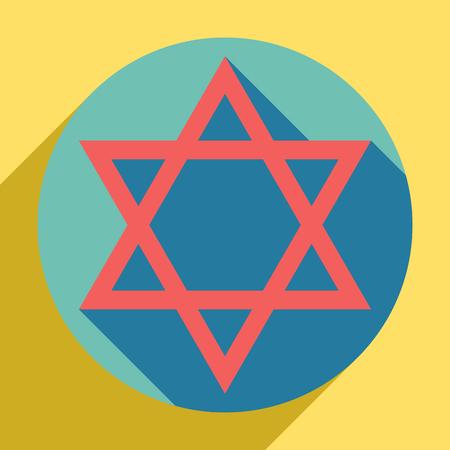 Shield David Star. Symbol of Israel. Sunset orange icon with shadow inside medium aquamarine circle with different goldenrod shadow at royal yellow background.