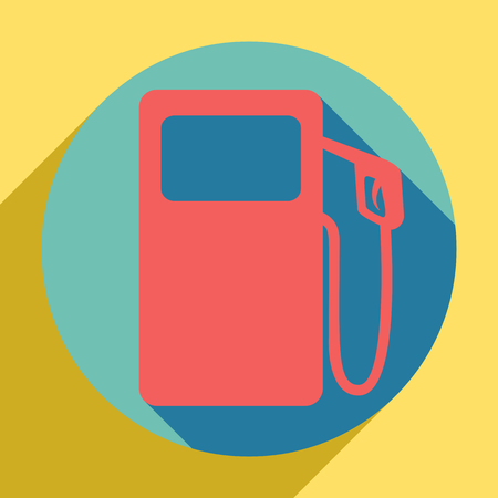 Gas pump sign. Sunset orange icon with shadow inside medium aquamarine circle with different goldenrod shadow at royal yellow background.