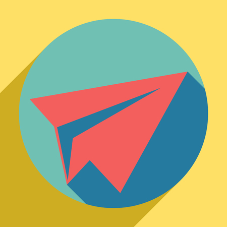 Paper airplane sign. Sunset orange icon with llapis lazuli shadow inside medium aquamarine circle with different goldenrod shadow at royal yellow background.