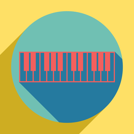 Piano Keyboard sign. Sunset orange icon with llapis lazuli shadow inside medium aquamarine circle with different goldenrod shadow at royal yellow background. Vector Illustration