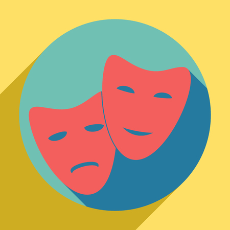Theater icon with happy and sad masks. Sunset orange icon with llapis lazuli shadow inside medium aquamarine circle with different goldenrod shadow at royal yellow background. Vectores