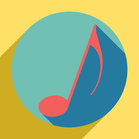 Signo de nota musical. Icono naranja al atardecer con sombra de llapis lazuli dentro de un círculo aguamarina medio con diferente sombra de vara de oro sobre fondo amarillo real.